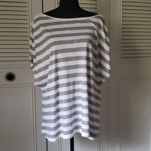 Beige and white striped shirt.